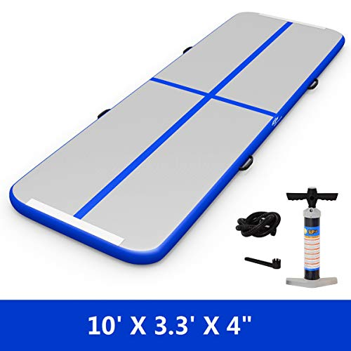 GOPLUS 10' x 3.3' Inflatable Gymnastic Mat Air Track Tumbling Mat with Pump, Air Floor for Home Use, Beach, Park and Water (Blue)