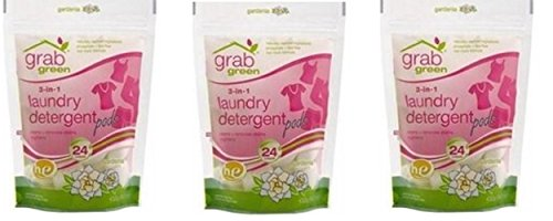 (Grab Green Natural 3-in-1 Laundry Detergent, Gardenia, 24 Loads, 3 Pack, 72 Loads Total!)