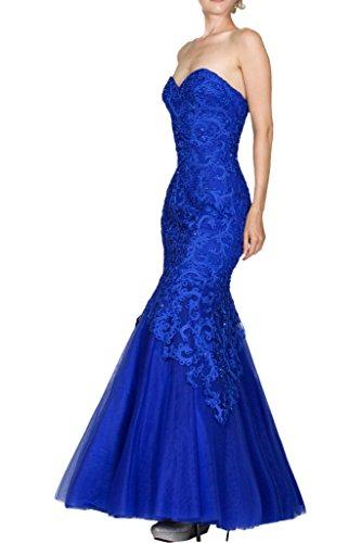 Royal Ballkleider La Brautmutterkleider Blau Marie Braut Bodenlang Blau Royal Traegerlos Spitze Abendkleider wCqaEC7