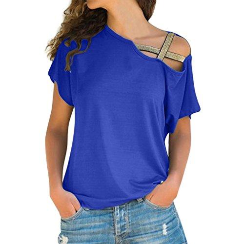 MCYs Frauen Beiläufige Einfarbig Sommer Lose Schulterfrei Shirt Kurzarm Neu  Frühling Sommer T Shirt Oberteil Tops 4e90430067