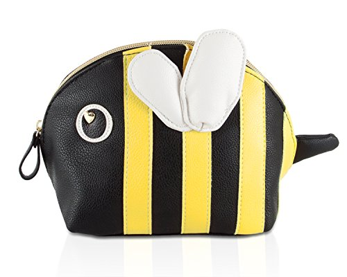 Betsey Johnson Bumble Bee Kitch Nylon Travel Cosmetic Case Pouch - Black/Multi Delight Quilted Bag