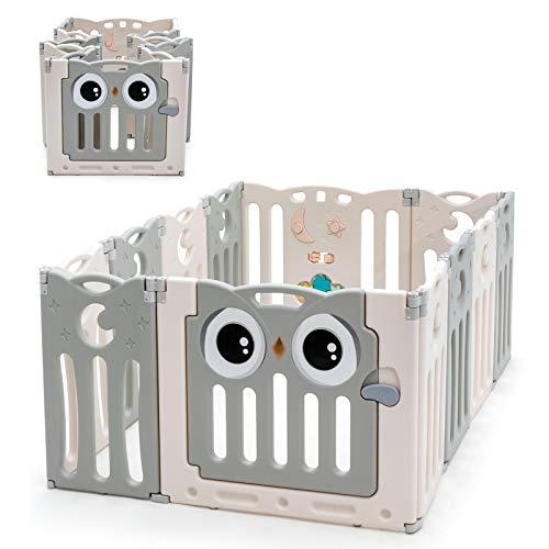COSTWAY Baby grondbox kinderen 12 HDPE paneel, Opvouwbare Baby speelruimte met veiligheidsslot & educatief speelgoed…