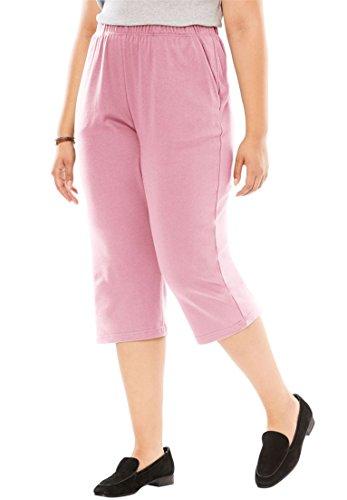 Women's Plus Size 7-Day Knit Capri Rose (Rose Knit Pants)