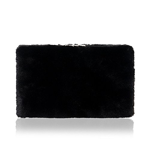 Purse Handbag Bag Black Crossbody Shoulder Clutch Fur JESSIEKERVIN Fashion Ladies Evening Bag KwBZpqOA