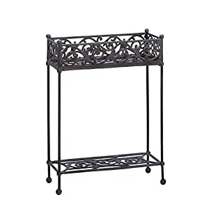 Plant Stand, Iron Two-tier Indoor Outdoor Garden Modern Plant Stand Decorative