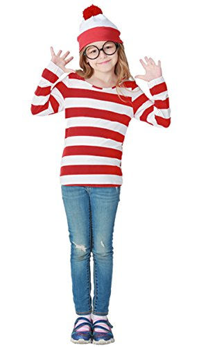 Nedal Kids Striped Costume Shirt Cosplay Clothes for (Where's Waldo Girl Costume)