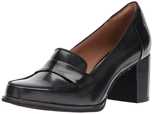 Leather Loafer Heels (CLARKS Women's Tarah Grace Penny Loafer, Black Shiny Leather, 7.5 M US)