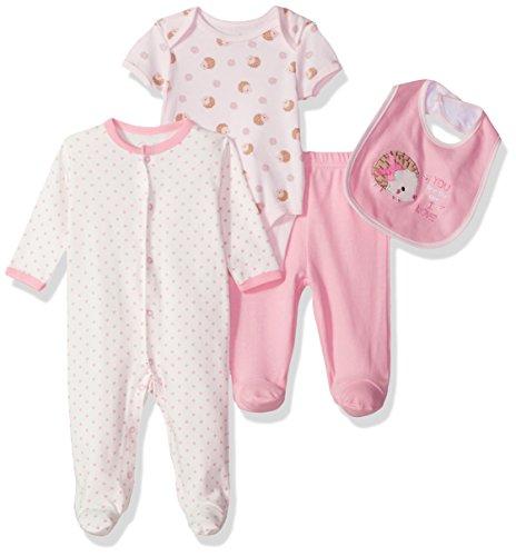 Pink Hedgehog - Rene Rofe Baby Kids' Little Newborn 4 Pc Coverall Bodysuit,Pant & Bib Set, Pink Hedgehog, 0-3 Months