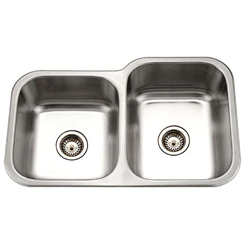 UPC 881208010912, Houzer MEC-3220SL-1 Medallion Classic Series Undermount Stainless Steel 60/40 Double Bowl Kitchen Sink, Small Bowl Left