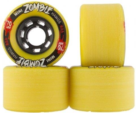 Landyachtz 70mm Yellow 82a Mini Zombie Hawgs Longboard Wheels (Set of 4)