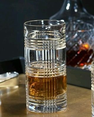 (Ralph Lauren Glen Plaid Highball Glass Single Crystal Glass 14 Ounces Made in Germany)