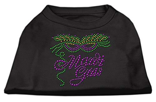 Mirage Pet Products Mardi Gras Rhinestud Shirt, Medium, Black