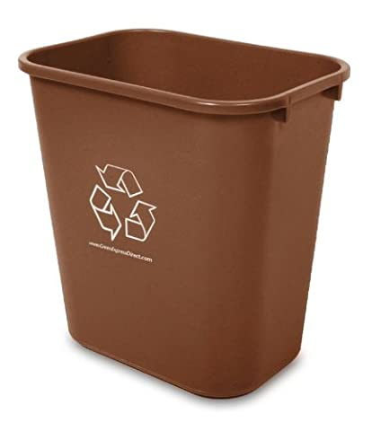 14 Quart Office / Hotel In-Room Recycle Bin, Brown - Paper Recycling Bin