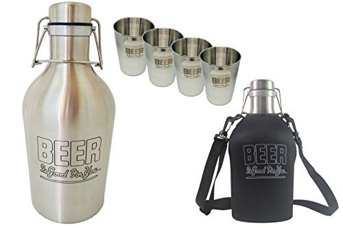 Ultimate Growler GIFT PACK | BEER Is Good For You | 2L/64oz Stainless Flip-Top Growler w/Custom Carrier, Set of Four(4) Beer Cups, Scratch-Free Brush, Sticker, Tips, Spare Seal & Gift Box