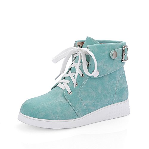 Round Imitated Leather Blue Lace Womens Toe Preppy Style AdeeSu Up Boots gXxwqR