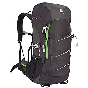 1XD GEAR Hiking Backpack Camping 40L(Liters) Waterproof Lightweight Daypack Outdoor Sport Travel Breathable Bag With Mesh Back for Women Men Hill Walker Day Hikers Clibming Trekking With Rain Coat By
