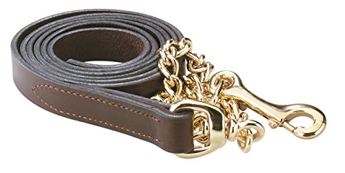 Perri's Leather Lead with 30-Inch Chain, 6-Feet 30-Inch