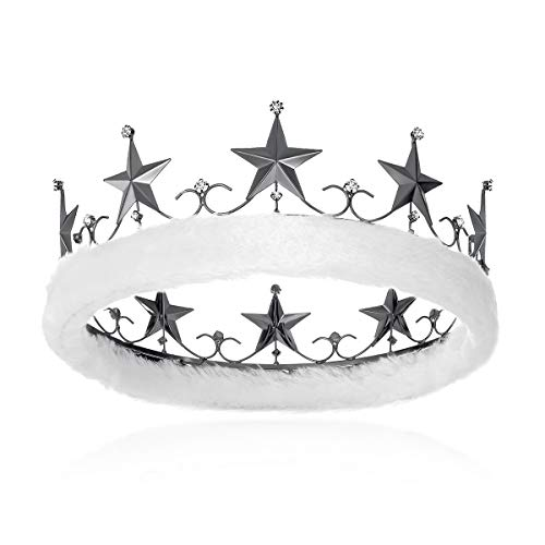 (DcZeRong Adults Men Crown King Birthday Crowns Homecoming Prom Costume King Crown Black Metal)