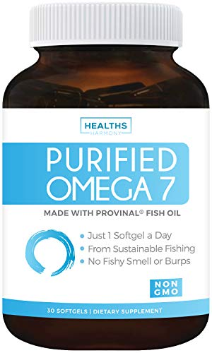 Purified Omega 7 Oil - Provinal Omega 7 (Non-GMO) All The Palmitoleic Acid EE Your Body Needs – Made from Peruvian Anchovy Fish - High Potency One Month Supply - 30 Softgels ()