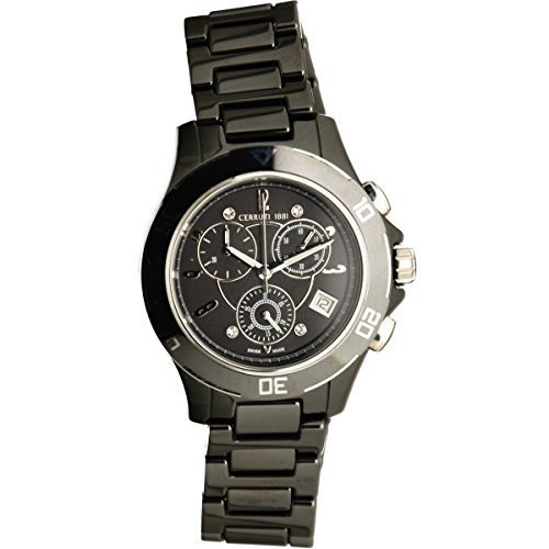 Cerruti 1881 Ladies Chronograph Watch Black Silver Tone with Ceramic Strap Diamond CRWM033Z211R