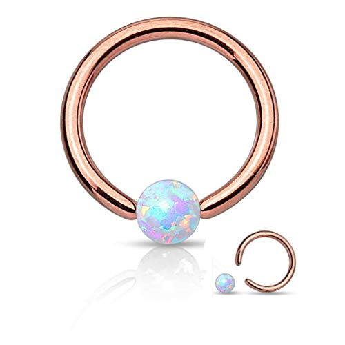 16 Gauge Rose Gold Captive Bead Ring Round Synthetic Opal 316L Surgical Steel (Rose Gold & Opal)