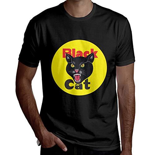 Black Cat Fireworks Boy Fashion Crewneck Sports Home Short-Sleeve T-Shirt (T-shirt Short Sleeve Firework)
