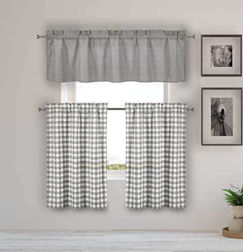 Home Maison Kinglough Kitchen Curtains, Grey - Maison Grey Rug