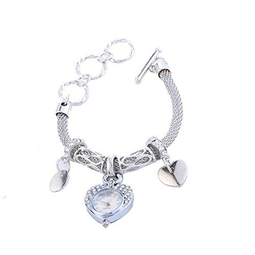 Owill Fashion Luxury Women Girls Quartz Stainless Steel Mesh Belt Wrist Watch Bracelet (Silver)