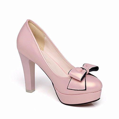 Plateau high geschlossen MissSaSa Pumps Damen Schleife Pink heel FgwnR1qf