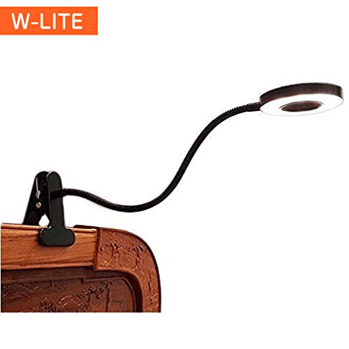 WLITE 6W LED USB Reading Light Clip Laptop Lamp for BookPianoBed HeadboardDesk EyeCare 2 Light Color Switchable Adapter Included Black