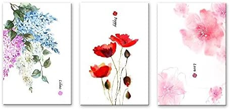 3 Panel Watercolor Style Flowers Lilac Poppy and Pink Flower Pattern x 3 Panels