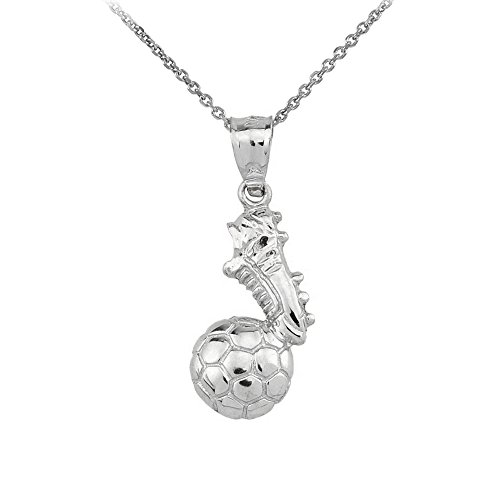 (Soccer Ball with Shoe Charm Pendant Necklace in Polished 925 Sterling Silver, 16