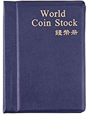DishyKooker Coin Album Books 10 Page 120/180 Pockets PU World Coin Album Book Case Collection Storage Collecting Coin Holders 120 Pockets Blue