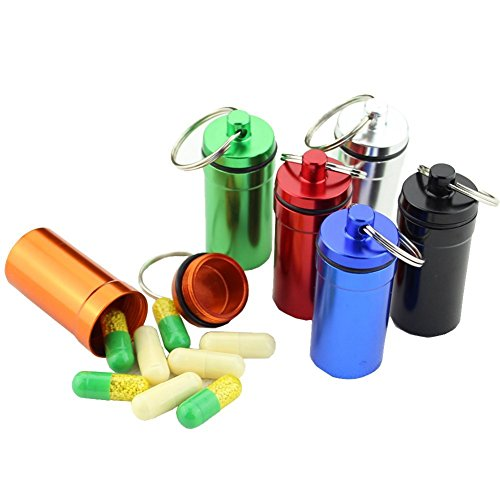 QXT 6pcs Waterproof Aluminum First Aid Drug Pill Box Case Small Medicine Bottle Keychain Pill Container, Random Color by QXT