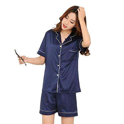 HITSAN Brand 2018 Summer Style Women Chinese Satin Silk Pajamas Sets of  T-Shirt   Shorts Female Superior Sleepwear Nighty Suit Blue Size M  Amazon. in  ... c615bd1a0