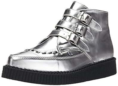 Women's Metallic Pointed Toe Buckle Creeper Boot