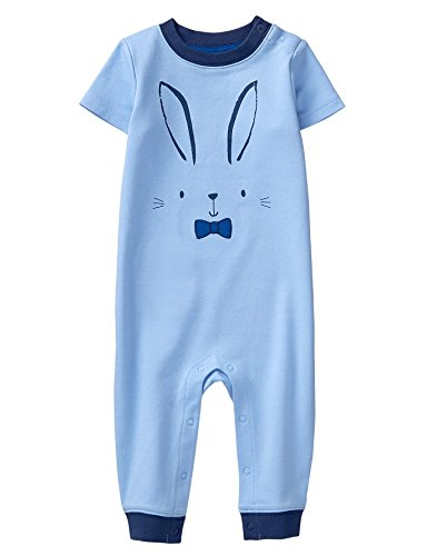 Gymboree Baby Boys Short Sleeve Long One-Piece, Bunny Blue, 6-12 Mo