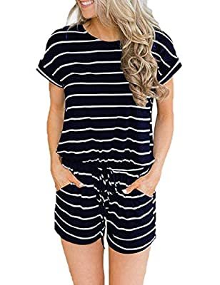 CASILY Women's Summer Short Sleeve Romper with Pockets Elastic Waist Jumpsuits