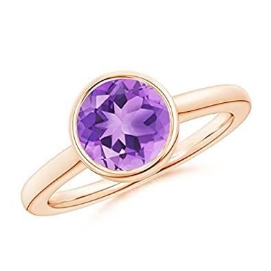Angara Amethyst Solitaire Ring in Rose Gold N1McEv
