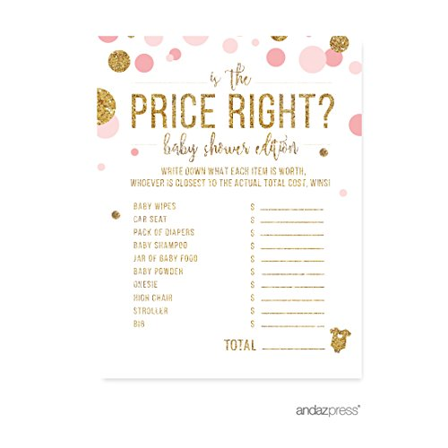Andaz Press Blush Pink Gold Glitter Girl Baby Shower Party Collection, Games, Activities, Decorations, Is the Price Right Game Cards, 20-pack