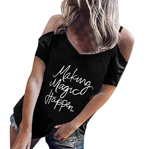 T Imprimé Courtes Manches Noir Vrtur À Pour shirt Femmes Lettres Et Décontracté fxd8FU