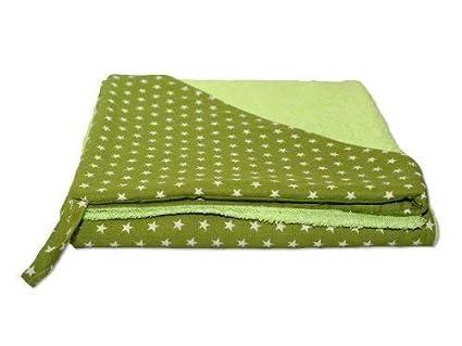 Rizo – Toalla con capucha toalla albornoz estrellas verde con nombre bordado verde Stoff: Sterne