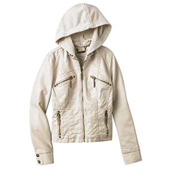 37d2e7b01875 Amazon.com  Jou Jou Hooded Faux-Leather Jacket - Girls 7-16 ...