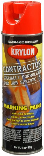 Krylon K07309000 Solvent-Based Contractor Marking Paint,  Fluorescent Safety Red, 15 Ounce by Krylon (Image #3)