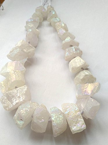 AB Mystic Quartz Necklace Rondelle Nugget Beads Matte Point Raw Rough Rock Crystal Points Gemstone Beads Supplies Jewelry Making 15-35mm 17