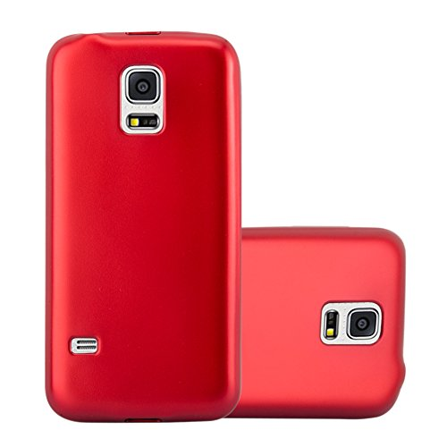 Cadorabo Case Works with Samsung Galaxy S5 / S5 NEO in Metallic RED - Shockproof and Scratch Resistant TPU Silicone Cover - Ultra Slim Protective Gel Shell Bumper Back Skin (Galaxy S5 Red Film)