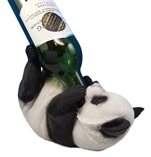 Atlantic Collectibles Adorable Bamboo Giant Panda Bear Decorative Wine Bottle Holder Rack Figurine