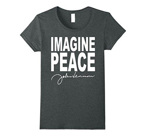 Womens John Lennon - Imagine Peace T-Shirt XL Dark Heather