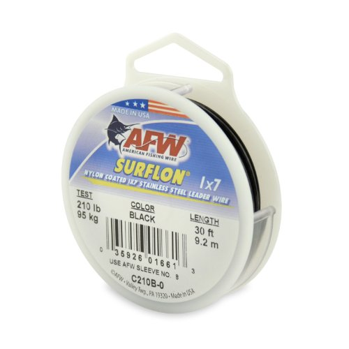 American Fishing Wire Surflon Nylon Coated 1x7 Stainless Steel Leader Wire, Black Color, 210 Pound Test, 30-Feet