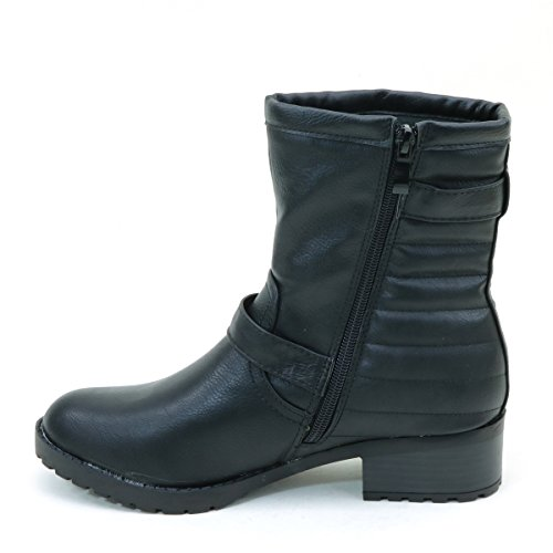 New Brieten Womens Buckle Flats Ankle Riding Boots Black OhODBGMs